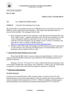 Mortgage Letter - Use of Tax Credit for Down Payment Closing Cost Assistance